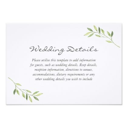 Watercolor Green Leaf Wedding Reception Details Card - wedding - invitation information template
