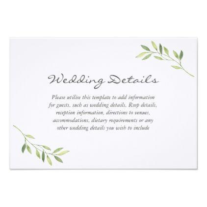 Watercolor Green Leaf Wedding Reception Details Card - wedding - invitation information template