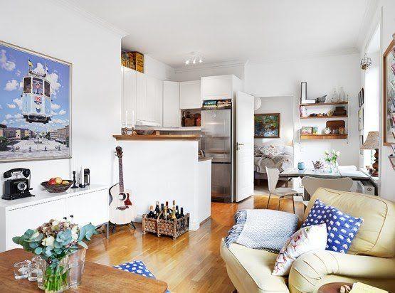 Pisos peque os de estilo n rdico dormitorio con almacenaje y rinc n de trabajo dise o de Diseno de interiores pisos pequenos