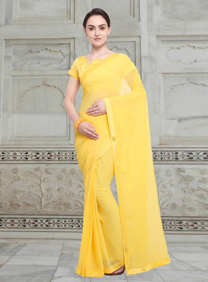 6dc1cd774359 Buy Yellow Chiffon Festival Wear Saree 147081 with blouse online at lowest  price from vast collection of sarees at Indianclothstore.com.