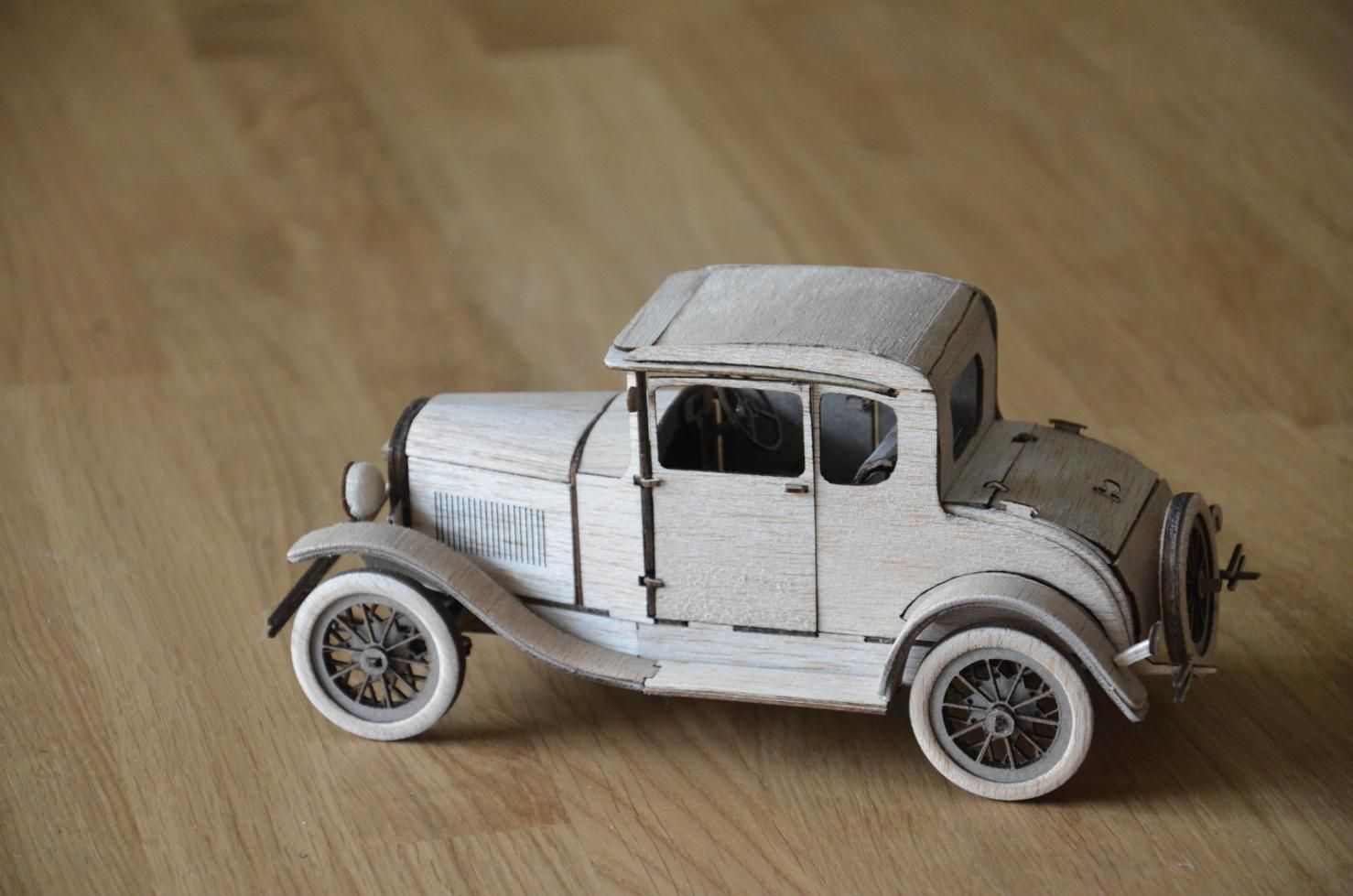 Ford Model A Coupe 1930 Scaled Car Model Balsa Wood 1 20 Wooden
