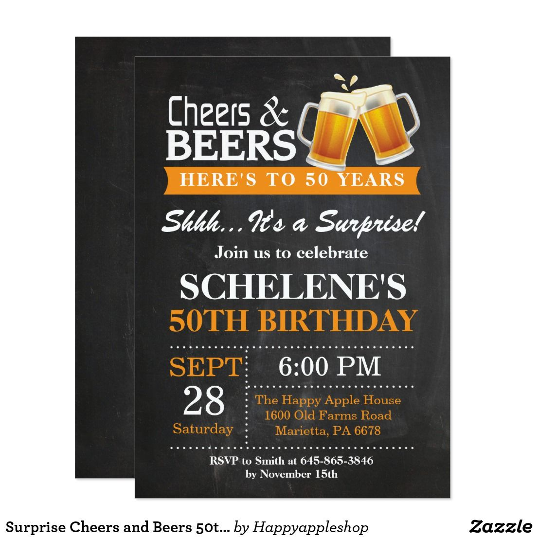 Surprise cheers and beers 50th birthday invitation birthday bash surprise cheers and beers 50th birthday invitation stopboris Gallery