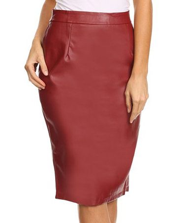 BellaBerry USA Burgundy Faux Leather Pencil Skirt | Burgundy ...