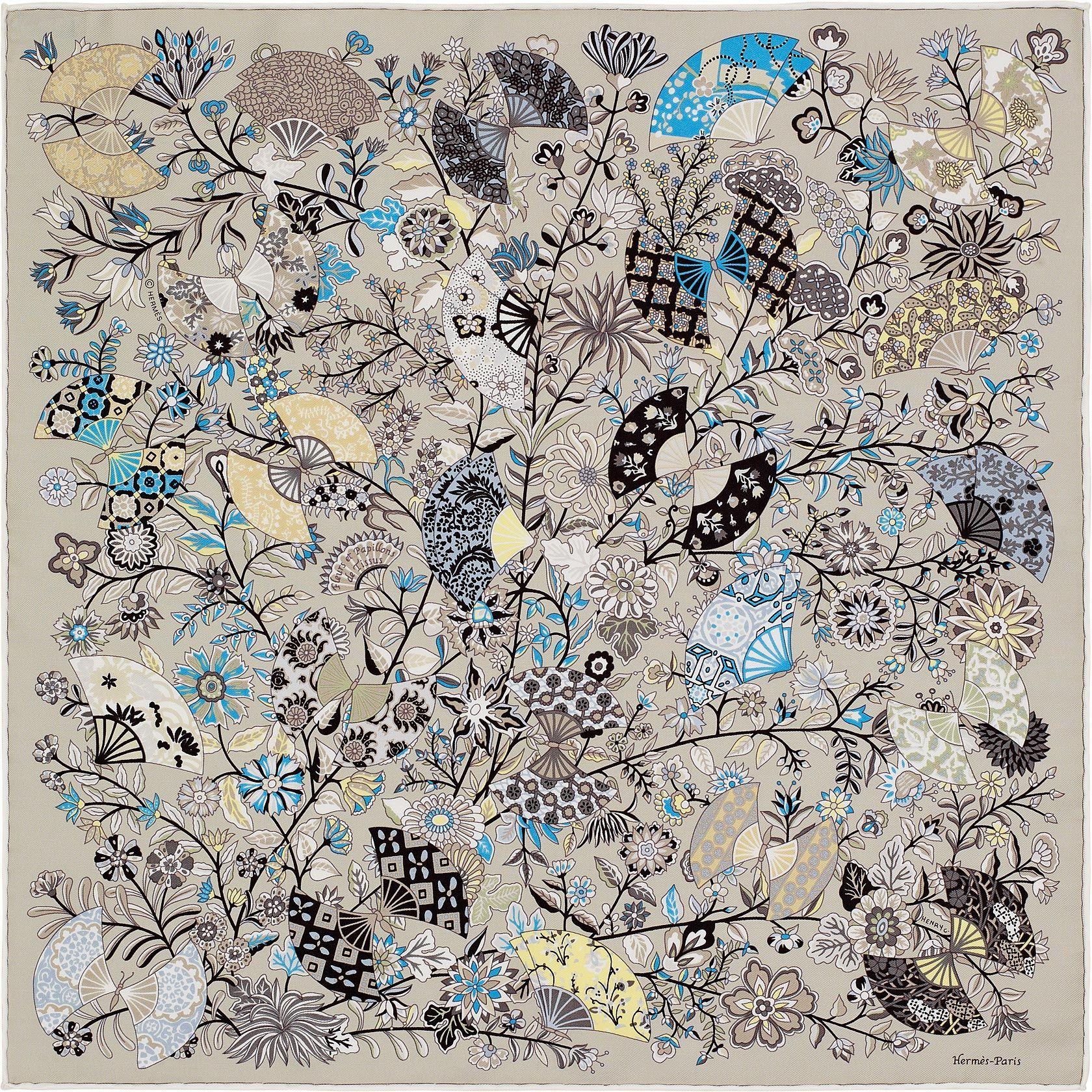 Hermès - Fleurs et Papillons de Tissus by Christine Henry - Gavroche en  twill de soie (45 x 45 cm) b1cc56c4728