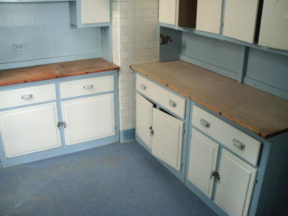 complete 1940s wooden kitchen cabinets complete with monel sink