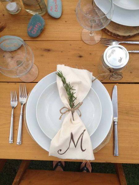 Simple Wedding Place Setting Idea White Plates With Ivory Napkin Rosemary Orange Blossoms Fls And Event Styling