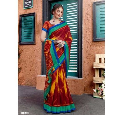 Photo of Ikkat Printed Linen Silk Saree in Multi Color.