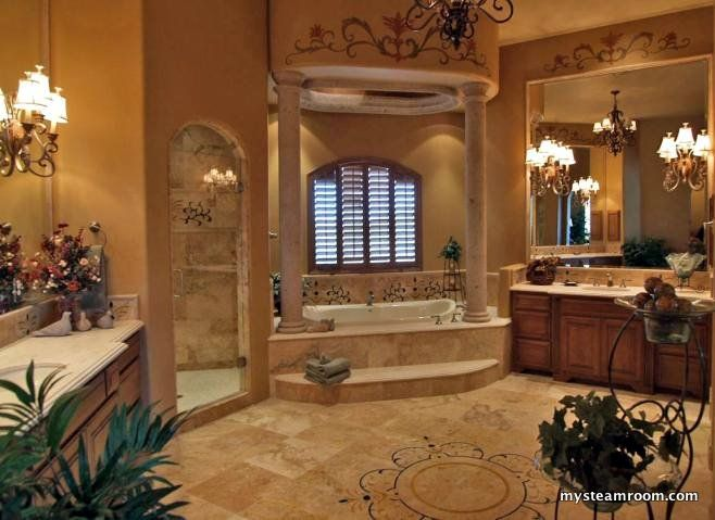 large bathroom with steam shower and bathtub - Large Bathroom Designs