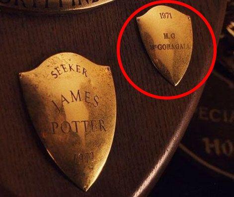 In Der Stein der Weisen zeigt die Plakette des Quidditch-Teams der Gryffindors, in dem Harrys Vater UND Professor McGonagall gespielt haben. #movietimes