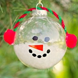 Christmas snowman ornament craft made with clear glass for Clear ornament snowman craft