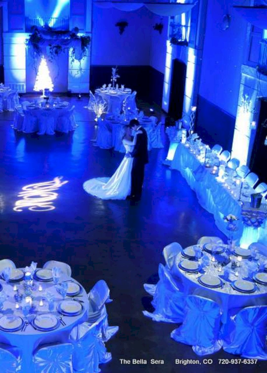 Light blue wedding decoration ideas   Best Inspirations Blue and Purple Up Lighting Wedding Ideas