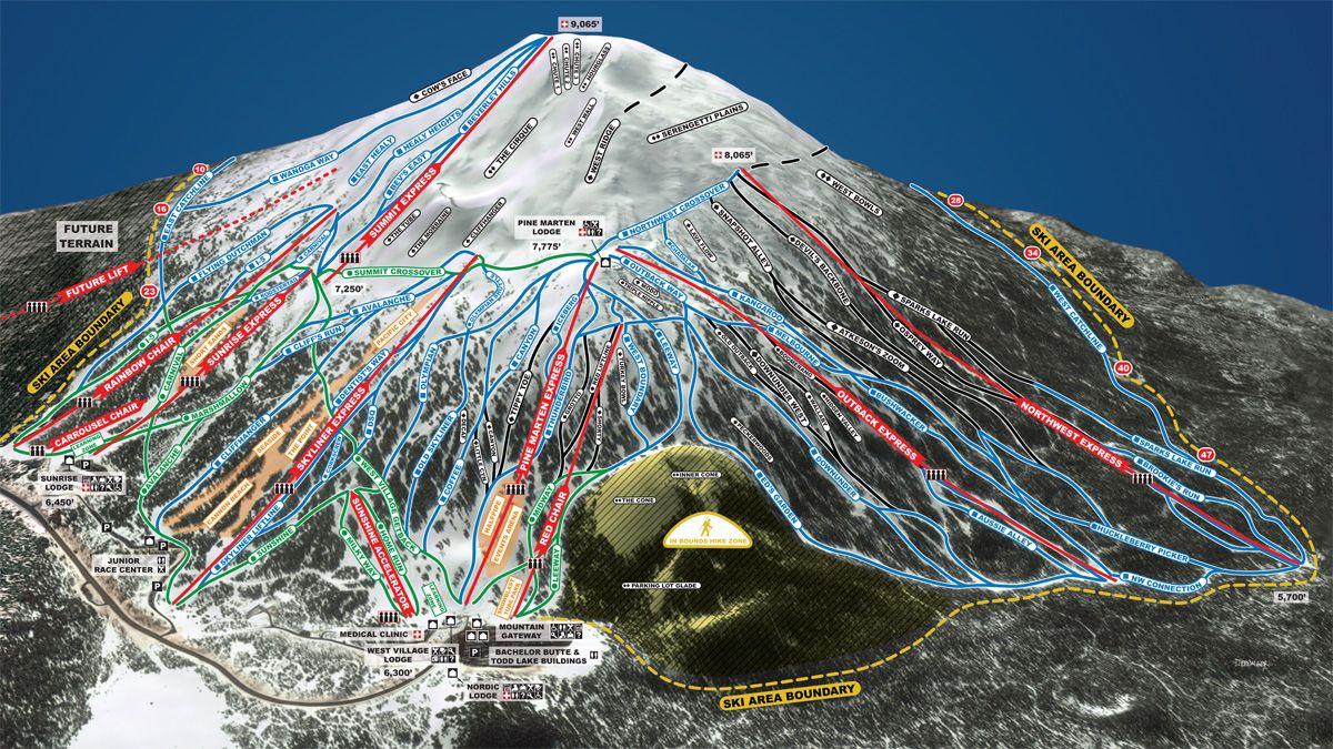 mt. bachelor ski resort - trail map & mountain stats | mt. bachelor