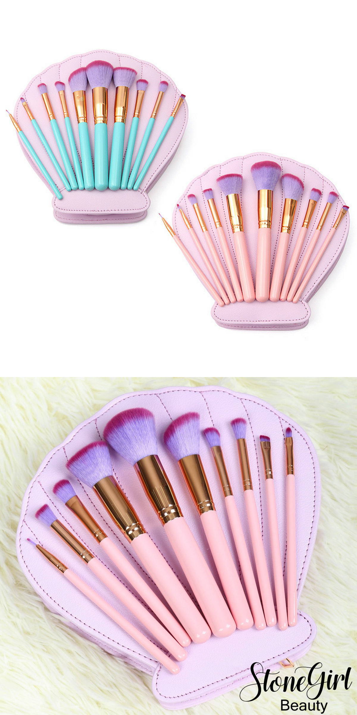 This makeup brush set includes 10 brushes in a