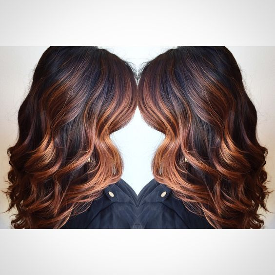Image result for caramel copper balayage for black hair