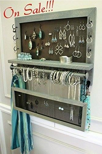 Wall Mounted Scroll Trim Series Jewelry Organizer With Bracelet Bar And Stud Earring Holder Necklace Make A Deal Black Friday