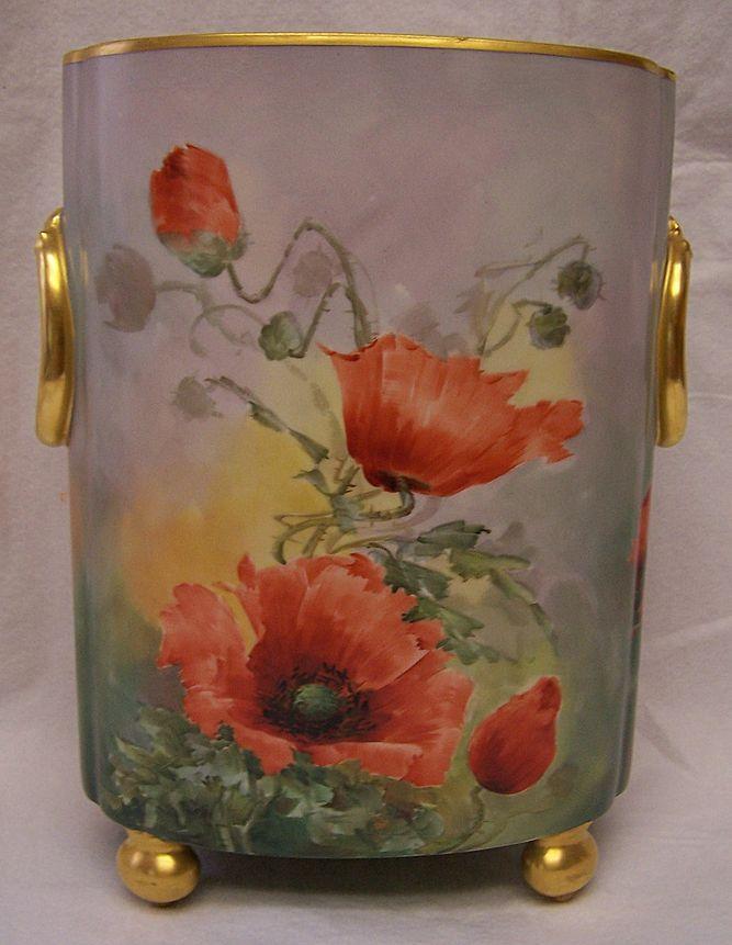 Famous Porcelain Painters Huge Limoges Cache Vase Pot Cachepot Painted By The Renown Artist Sherratts Porzellanmalerei Porzellan Bemalen Malen