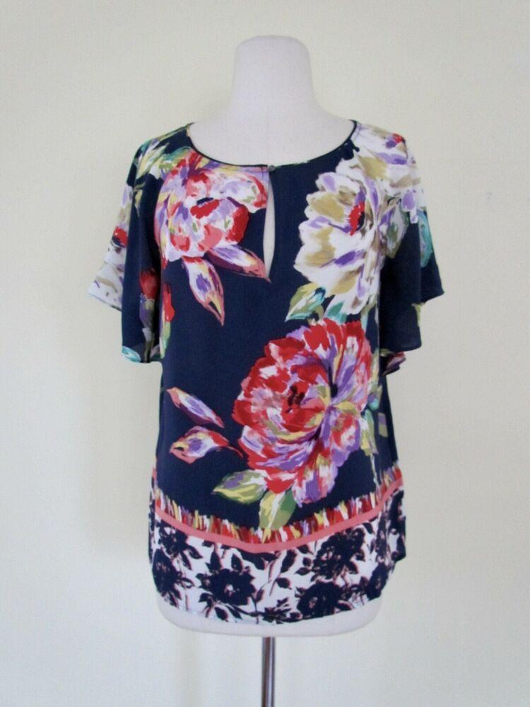 NEW Anthropologie 100% Silk Floral Print Flutter Sleeve