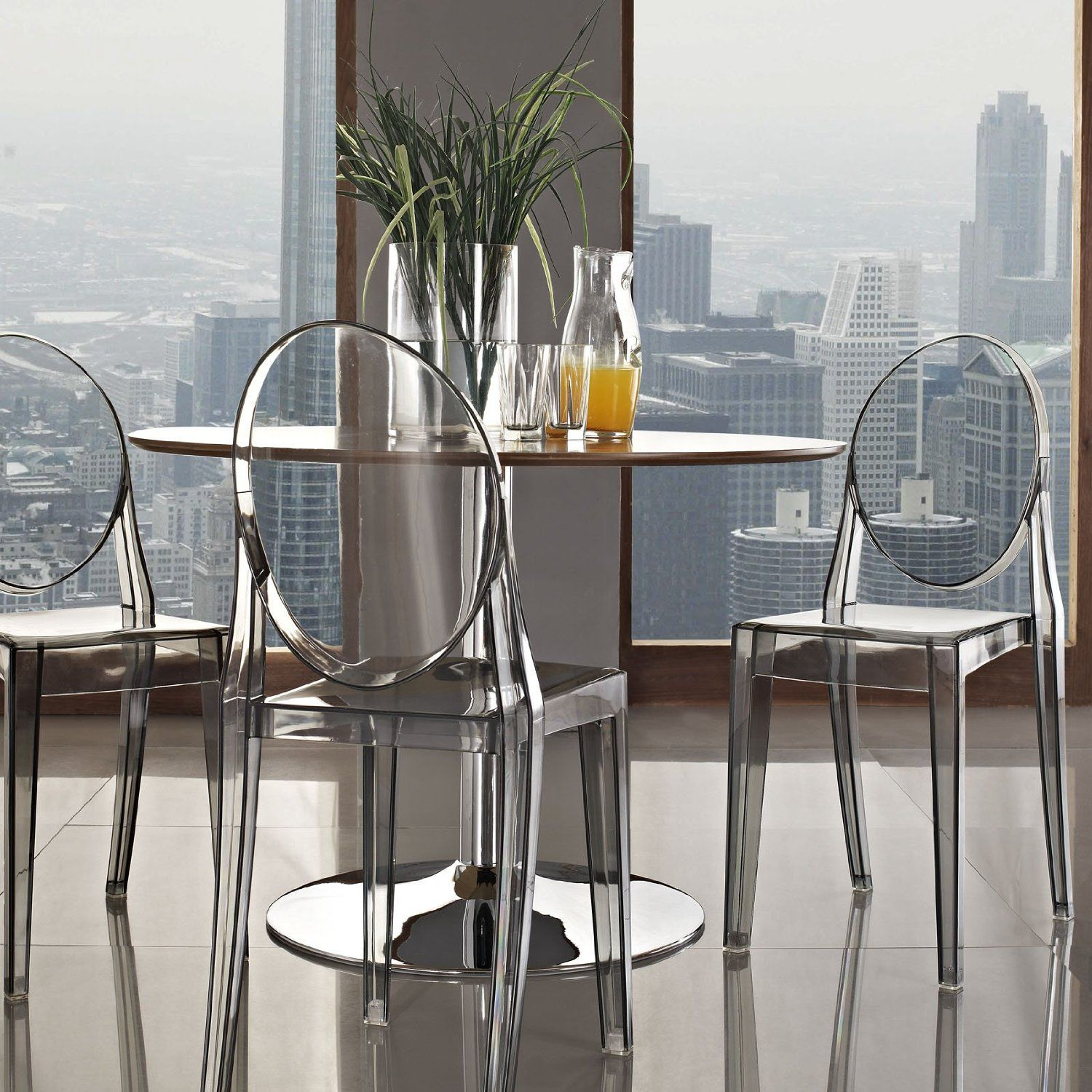 Amazon Casper Dining Side Chair in Smoked Clear Chairs
