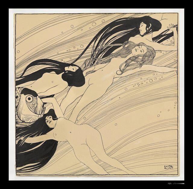 """Gustav Klimt drawing, """"Fishblood,"""" 1898"""