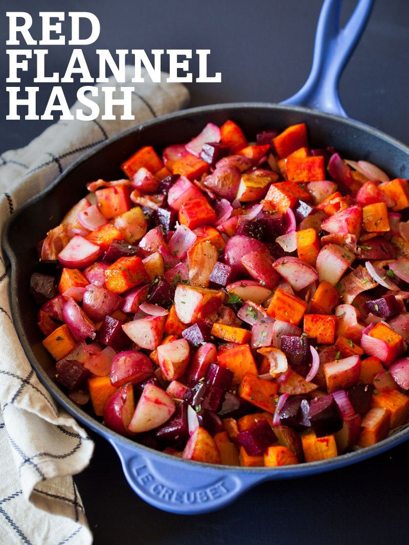 ingredients:  sweet potatoes, red potatoes, onion, beets and thyme or other herb of your choice