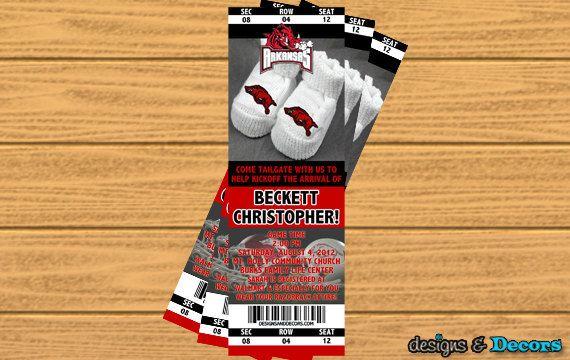Arkansas Baby Shower Ticket (Any Team) - Custom You Print Digital Ticket Invitation - Baby Shower. $15.00, via Etsy.