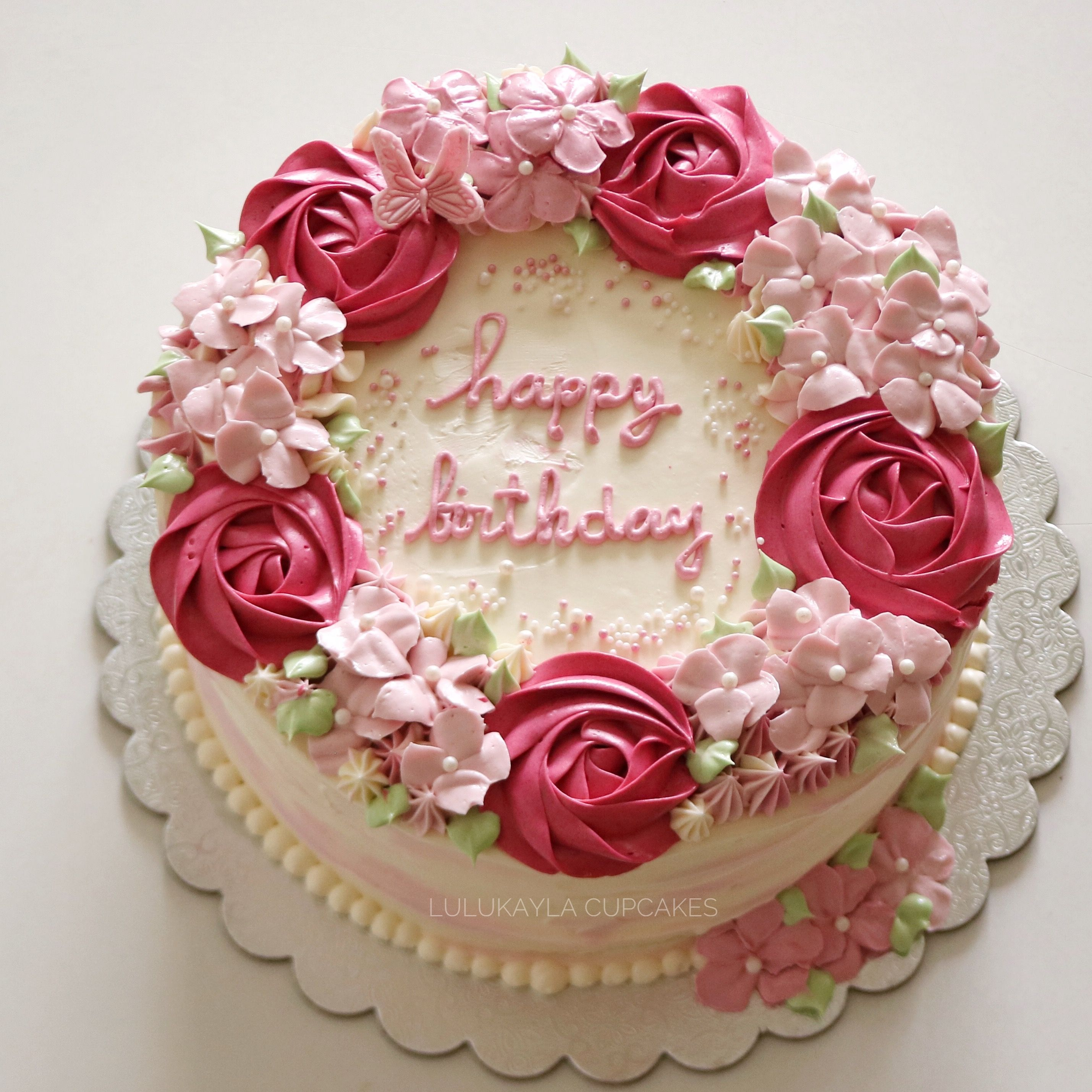 Flower Buttercream Cake Simple Birthday Cake Cake Decorating Flower Cake