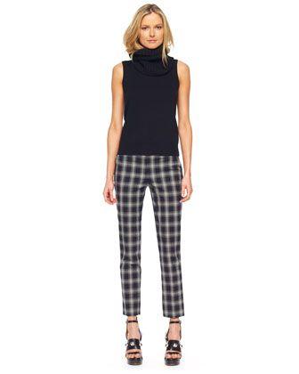 Michael Kors  Removable-Collar Knit Shell & Taos Plaid Samantha Skinny Pants .