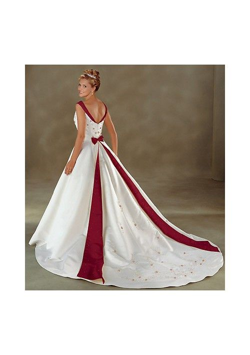 Discount Satin V-neck Embroidery A line Skirt with Semi-cathedral Train Bridal Dress WB-0001 Sale