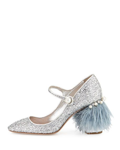 9d9a5875df1 Feather-Embellished Glitter Mary Jane Pump Silver (Argento)