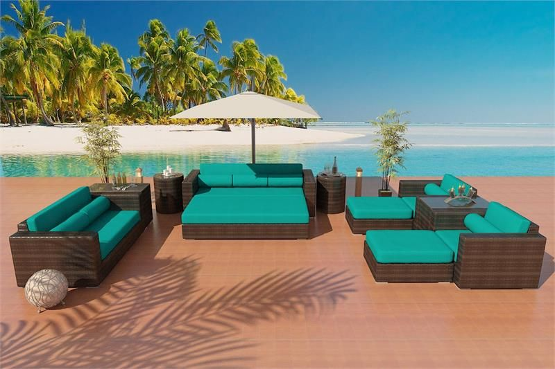 Our Elegant Modern Mikeilah Outdoor Furniture Set From Our Alexandria Wicker  Patio Furniture Collection Features And Extra Large Ottoman That Converts  Your ...