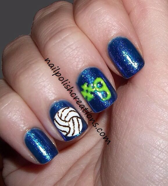 Pin By Kaitlyn Lambeth On Nails Please Volleyball Nails Sports Nails Volleyball Nail Art