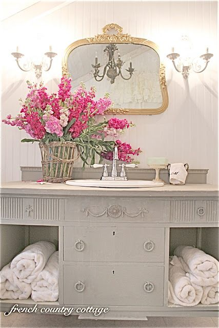French Country Cottage Petite Cottage Bathroom Makeover Cottage Bathroom French Country Bathroom French Country Cottage