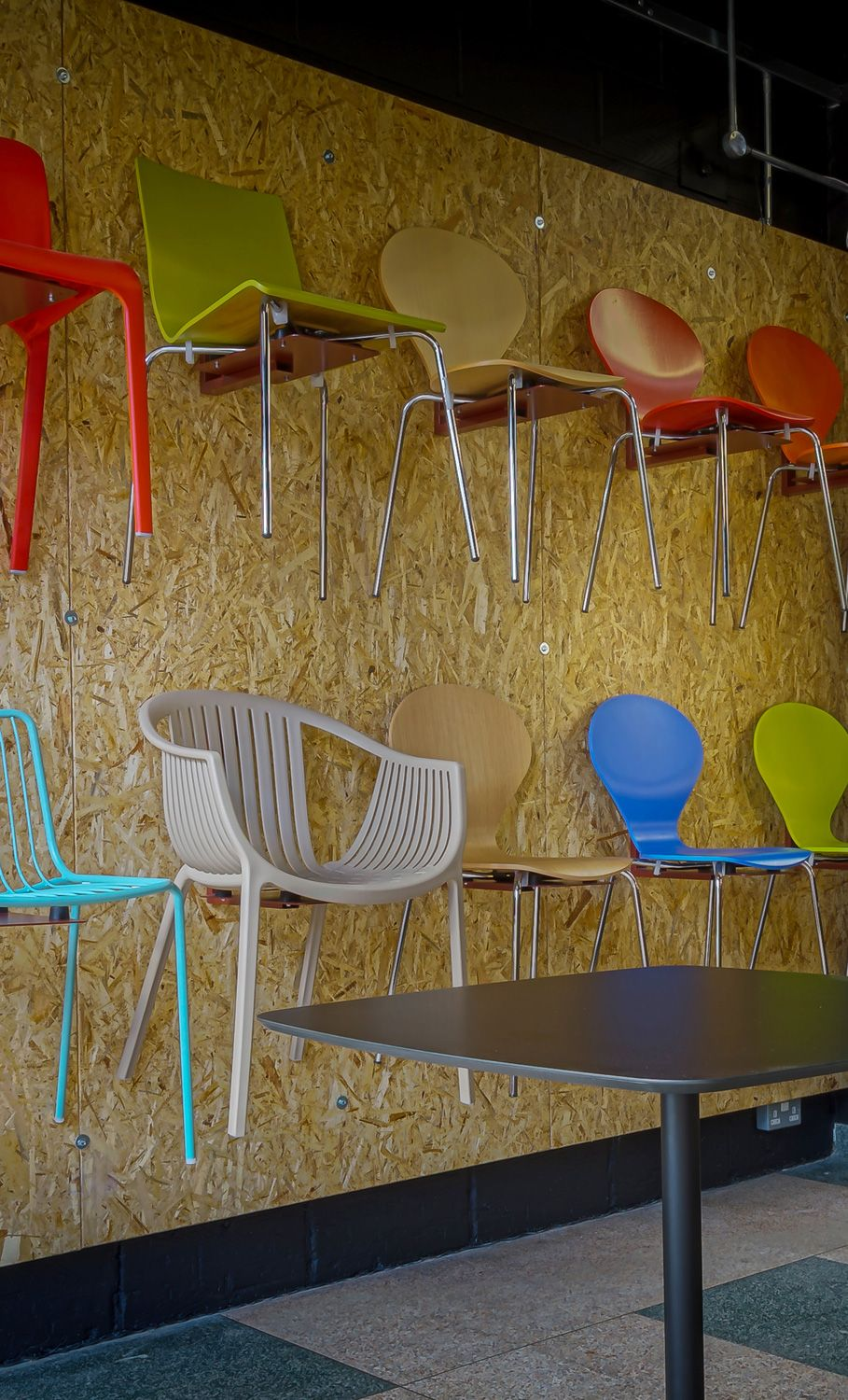 Cafe Chair Wall At The New Spaceist Showroom Peerless Office Furniture Showroom Kitchen