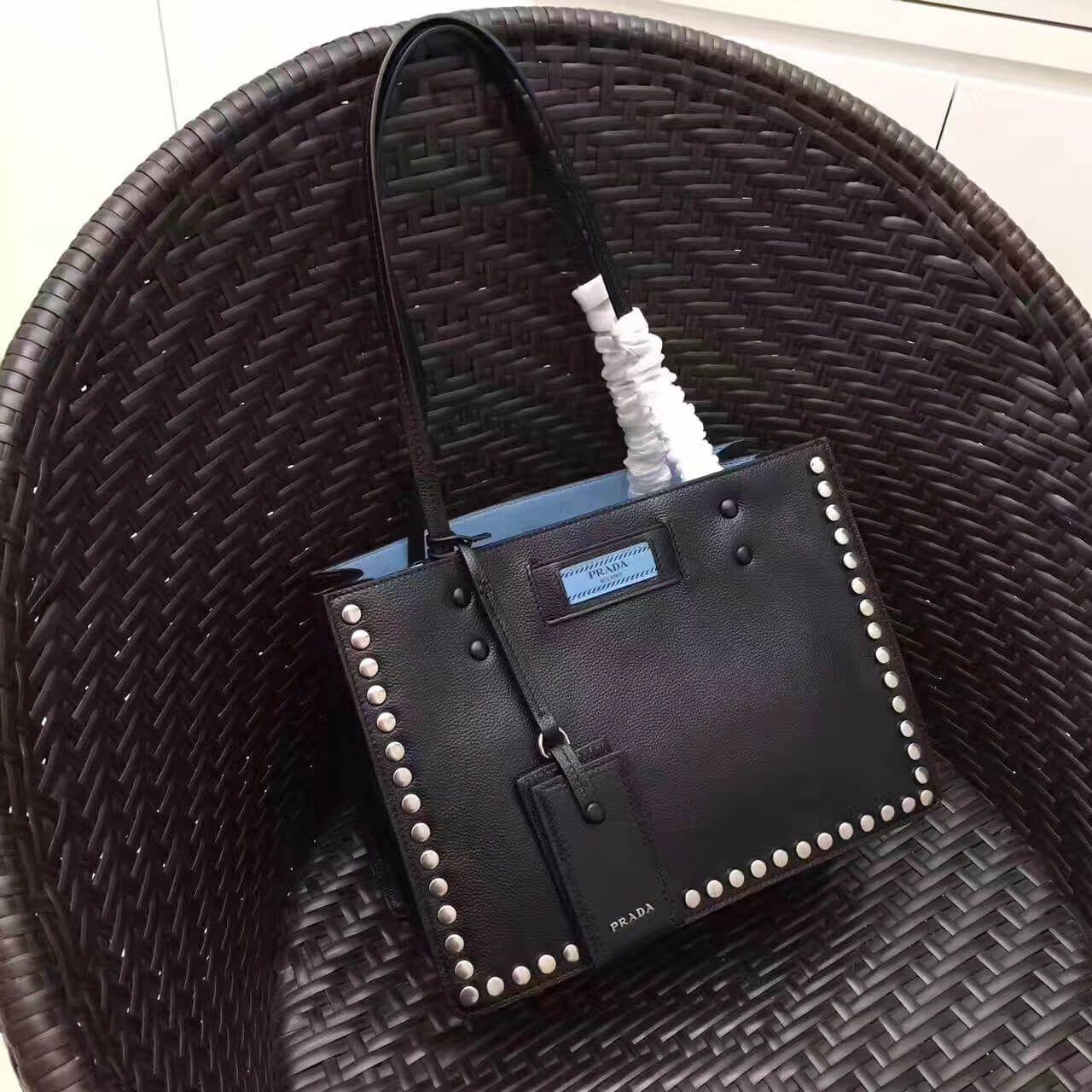 74a78d0652 Prada Etiquette Calf Leather Tote with Metal Stud Trim 1BG121 Black 2017