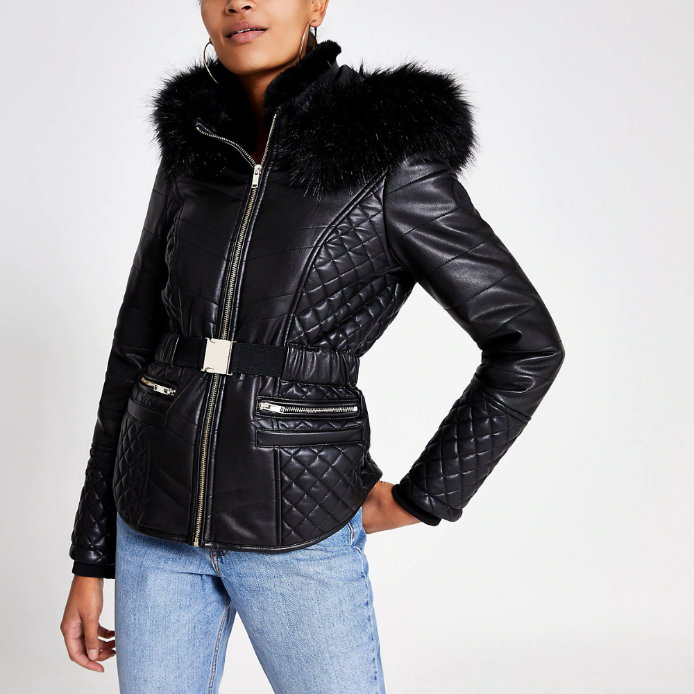 Black faux leather fitted padded jacket River Island