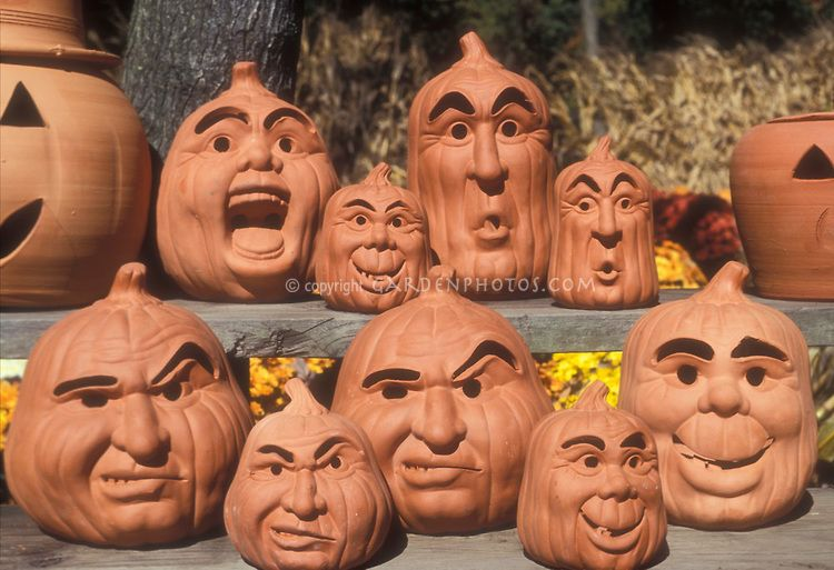 Halloween Pumpkin Decorations Variety Of Clay Terra Cotta Pottery Jack O Lantern Faces And Pumpkin Pottery Pumpkin Halloween Decorations Pumpkin Flower Pots
