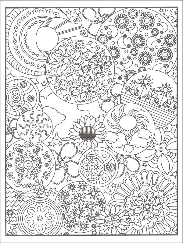 Designs Flower Abstract Doodle Zentangle Coloring Pages Colouring Adult Detailed Advanced Printable Kleuren Voor Volwassenen Coloriage Pour Adulte Anti