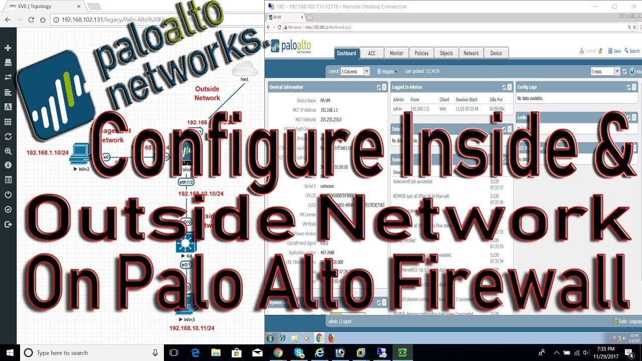 EVE-NG : Configure Palo Alto firewall Inside and Outside Network