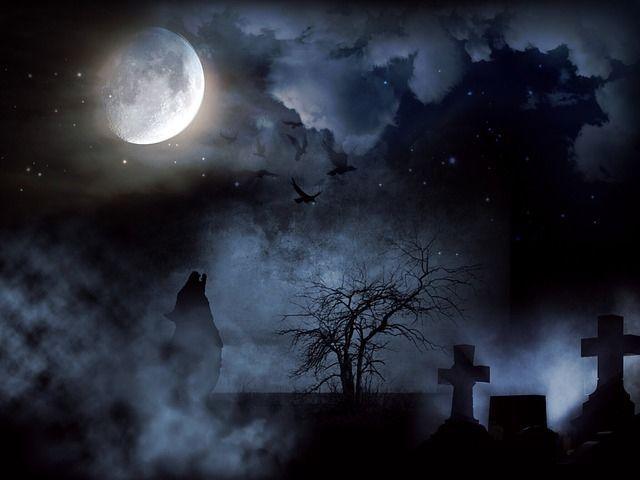 dark cemetery dark sky