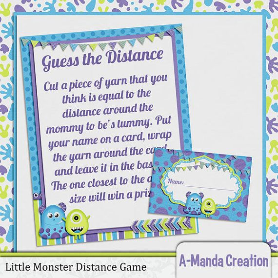 Monsters Inc Baby Shower | Little Monster Baby Shower Guess The Distance  Game
