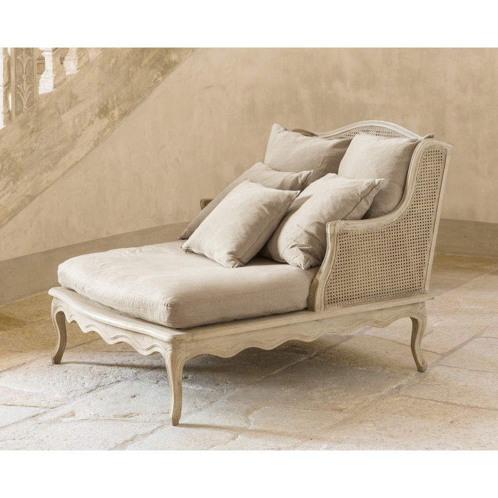 Light Grey Linen And Rattan Chaise Longue Leo Donyty Ana