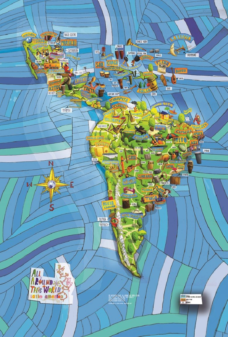 Musical Map Of Latin America By All Around This World What A - Us latin american intervention maps