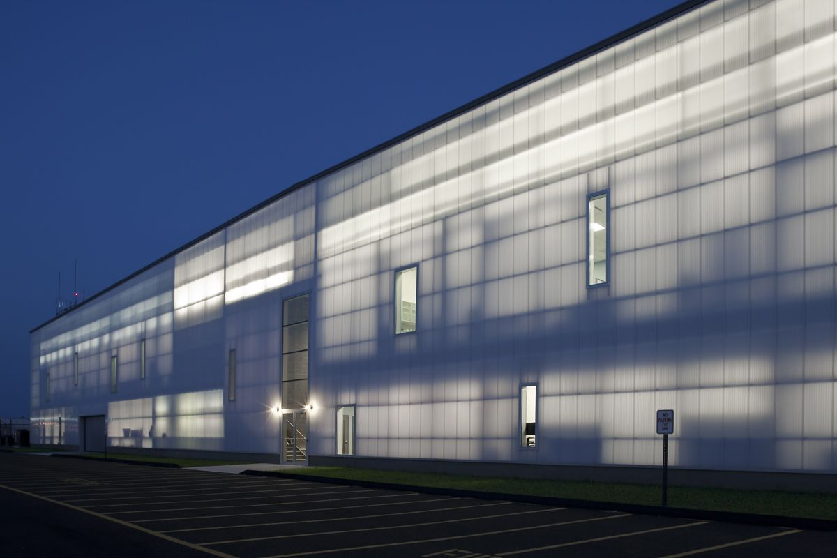 opaque glass commercial building | Translucent polycarbonate wall ...