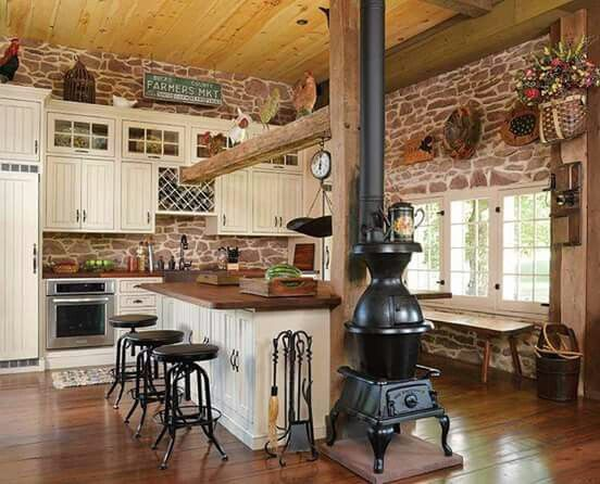 Love The Potbelly Stove Rustic Kitchen Stone Barns