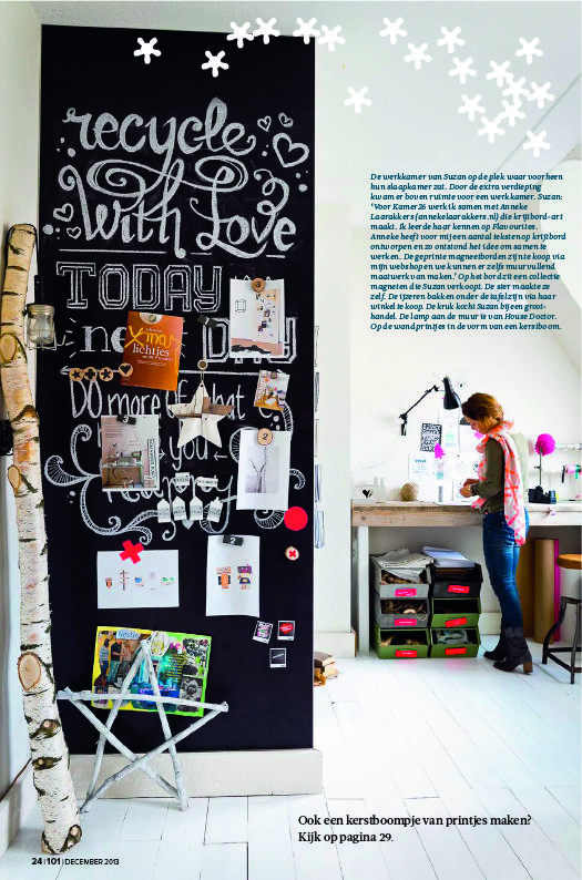werkkamer Kamer 26 met XXL magneetwand krijtbord-art