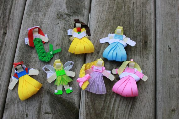 FOUR Princess Inspired Hair Clips Belle Tinkerbell by Emmabowtique, $26.25
