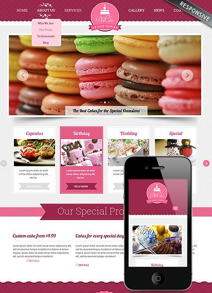 Cake Shop Bootstrap Template Id 300111804 From Simavera Com Cake Shop Website Template Bootstrap Template