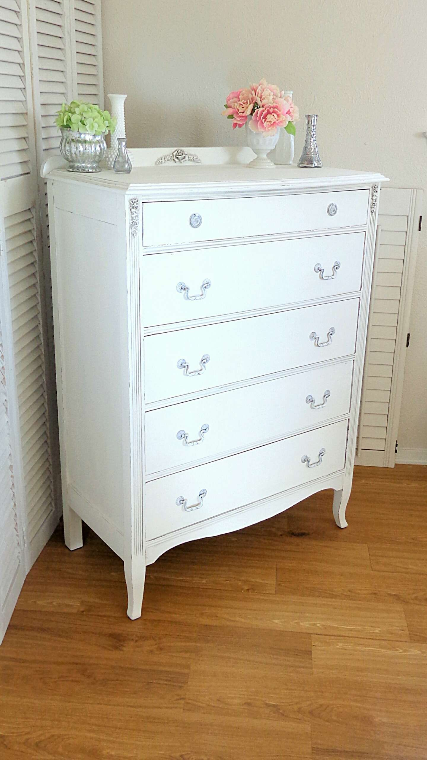 Romantic French Country Style Dresser In Antique White Vintage Mahogany Chest Of Drawers By Christine Brandon White Dresser Shabby Chic Decor Painted Cottage [ 2561 x 1440 Pixel ]