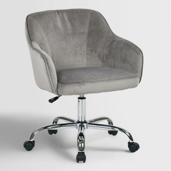 Gray Velvet Jozy Home Office Chair   V1