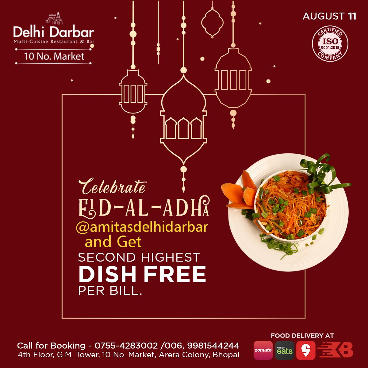 Celebrate This Eid Al Adha At Amitas Delhi Darbar And Get Second Highest Dish Free Per Bill Dishes Foodie Food Delivery